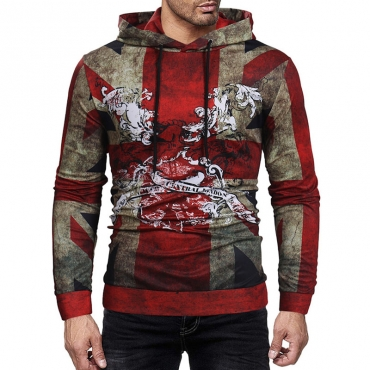 Lovely  Casual Hooded Collar Printed Red Hoodies