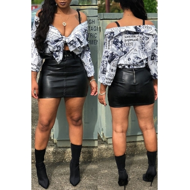 Lovely Casual Newspaper Printed White Blending Blouses (Batch Print)