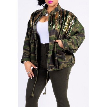 Lovely Euramerican Sequined Decorative Camouflage Printed Tatting Jacket