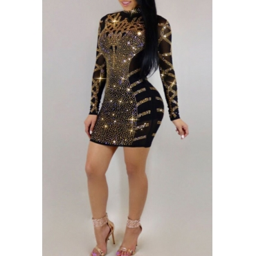 Lovely Sexy Hot Drilling Decorative Black Mini Dress