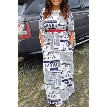 Lovely Casual Letters Printed White Ankle Length  Dress