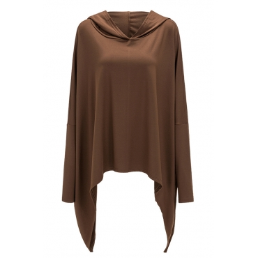 Lovely Casual Asymmetrical Short Coffee Cotton Hoodies