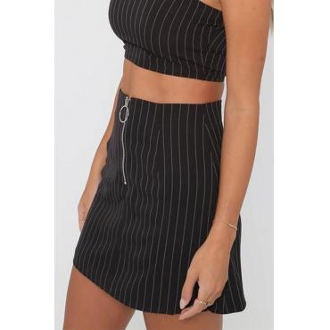 Lovely  Euramerican Striped  Black Cotton Mini Skirts