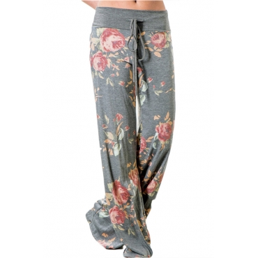 Lovely Casual Floral Printed Light Grey Cotton Pants