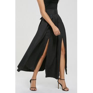 Lovely Trendy Side High Slit Black Cotton Ankle Length Skirts