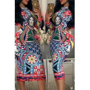 Lovely Trendy Poker Printed Multicolor Knee Length Dress