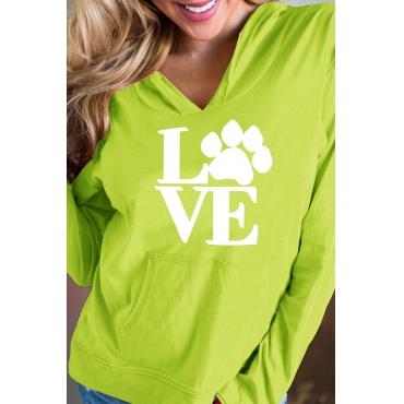 Lovely Euramerican Long Sleeve Printed Green Cotton Hoodies