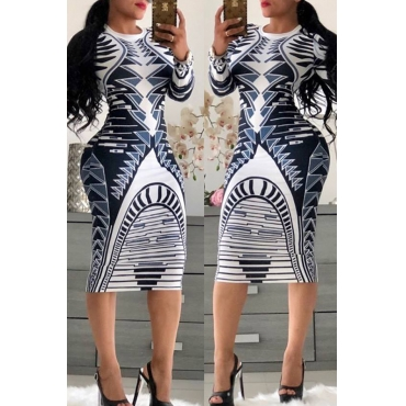 Lovely Trendy Geometric Printed Blue Knee Length Dress