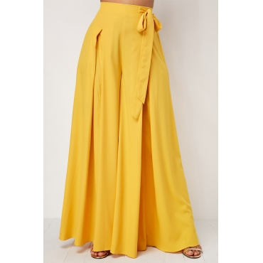 Lovely Casual Loose Yellow Cotton Pants