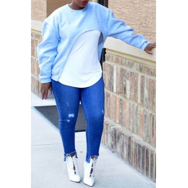 Lovely  Casual Long Sleeves Light Blue Hoodies