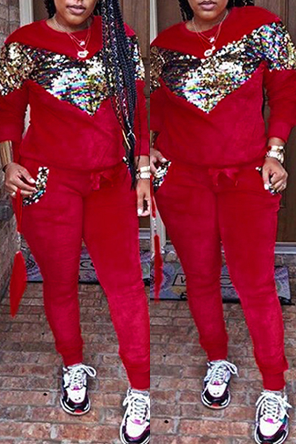 Lovely Casual Patchwork Sequined Decorative Red Velvet Two-piece Pants Set