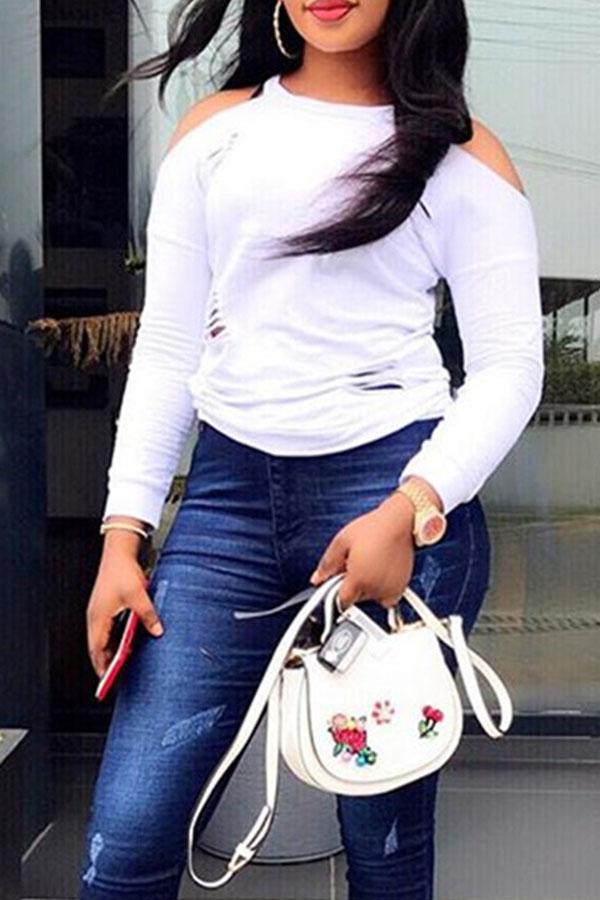 Lovely  Casual Dew Shoulder Long Sleeves White Blending T-shirt