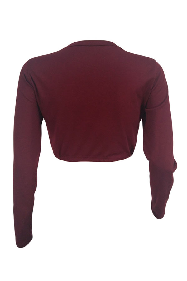 Lovely Euramerican Letters Printed Wine Red T-shirt