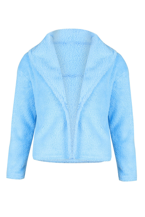 Lovely  Casual Long Sleeves Light Blue Coat