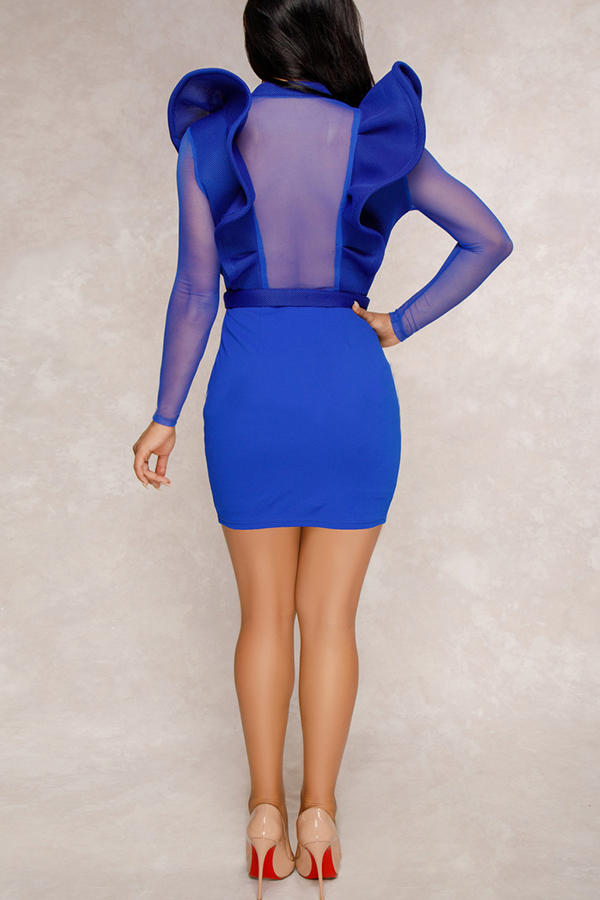 Lovely Sexy Long Sleeves Patchwork Slim Blue Mini Dress