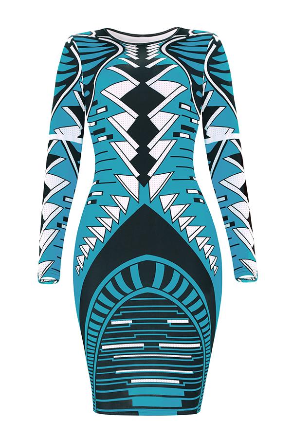 Lovely Trendy Geometric Printed Sky Blue Knee Length Dress