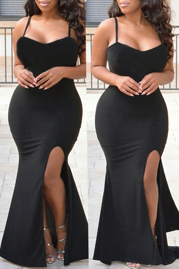 Lovely Elegant Evening Gown Black Knitting Floor Length Dress