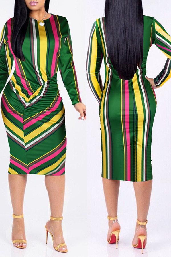 Lovely Euramerican Striped Multicolor Blending Knee Length Dress