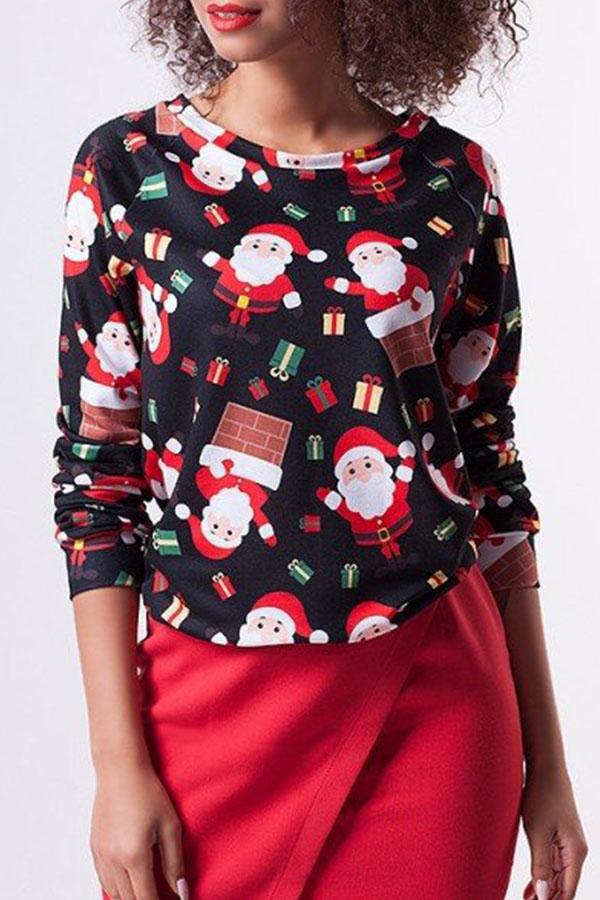 Lovely Euramerican Santa Claus Printed Black Twilled Satin  Blouses