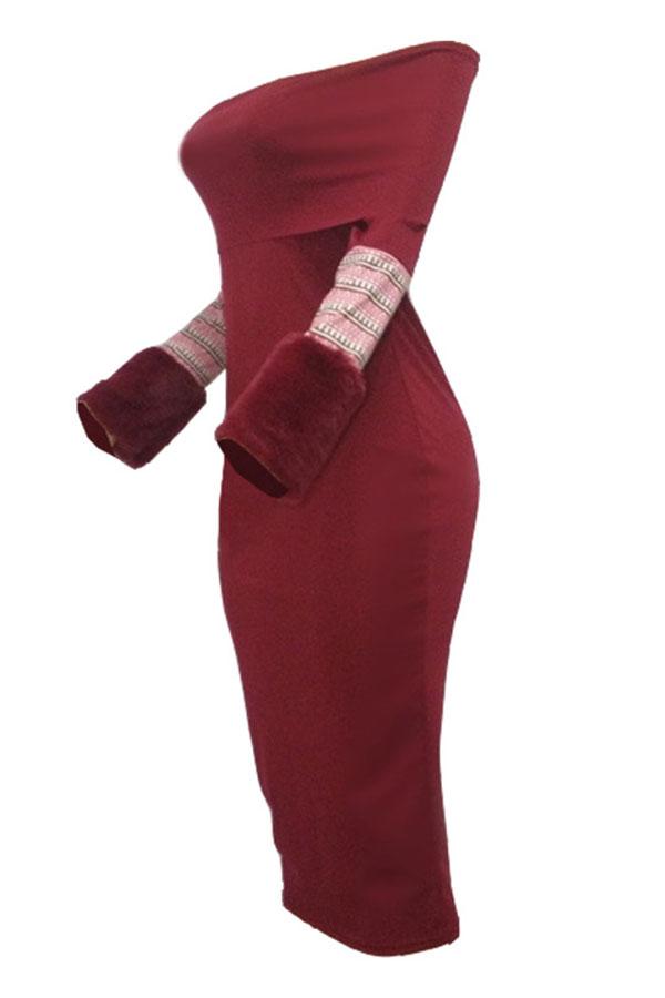 Lovely Street Dew Shoulder Slim Wine Red Twilled Satin Mid Calf Dress