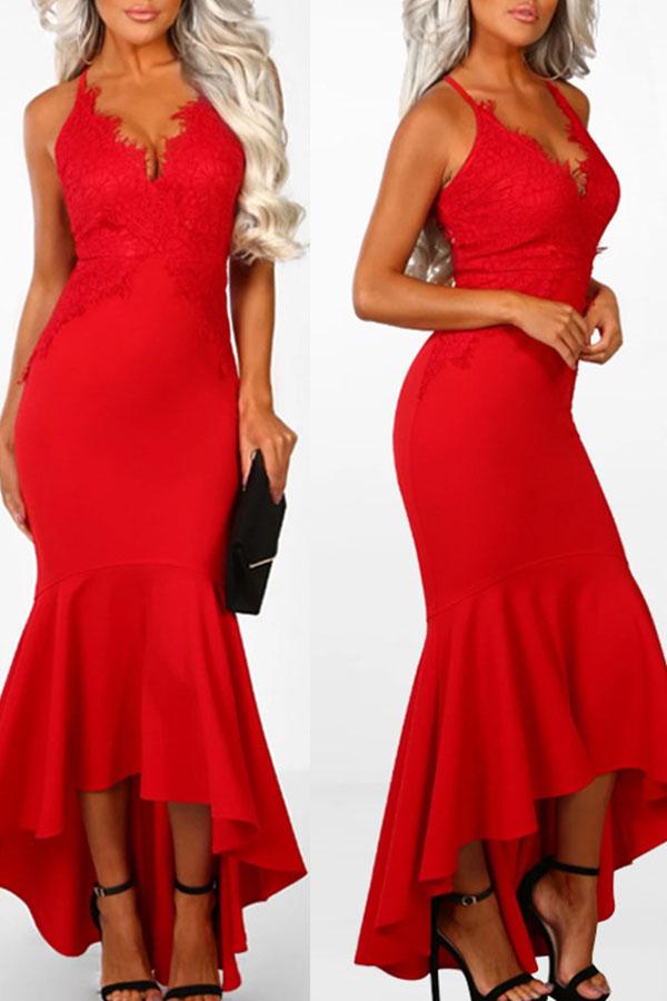 Lovely Vogue Flounce Design Blending Ankle Length Dress