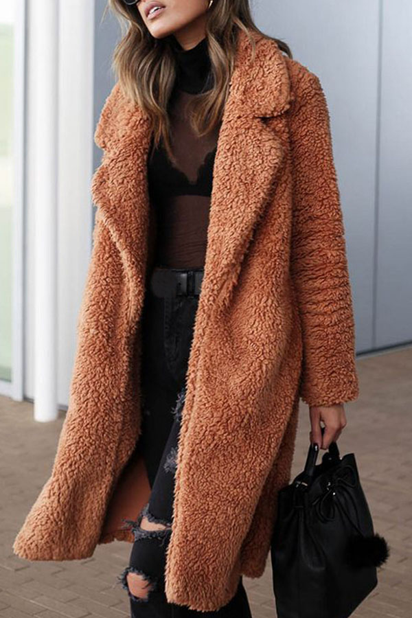 Lovely Euramerican Long Sleeves Brown Imitation Wool Coats