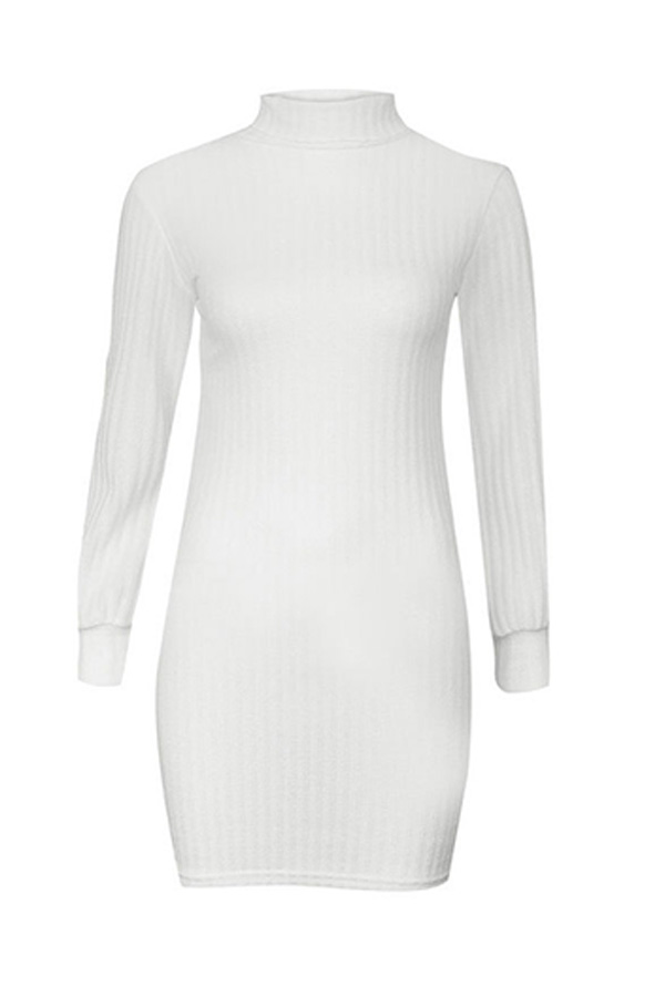 Lovely Euramerican Turtleneck Slim White Blending Mini Dress