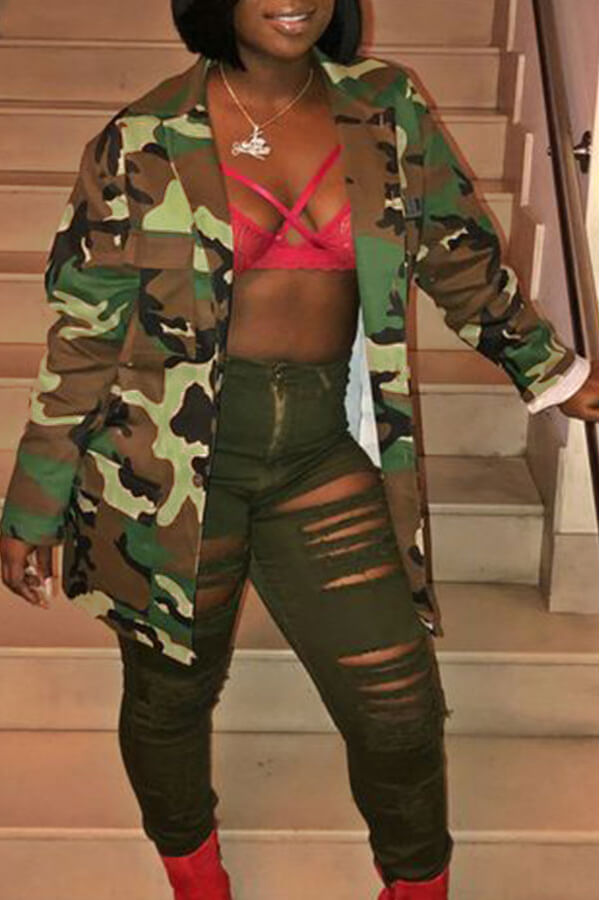 Coat&Jacket Lovely Casual Camouflage Printed Army Green Coat фото
