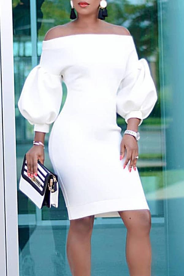 Lovely Temperament Lantern Sleeves White Knee Length Dress