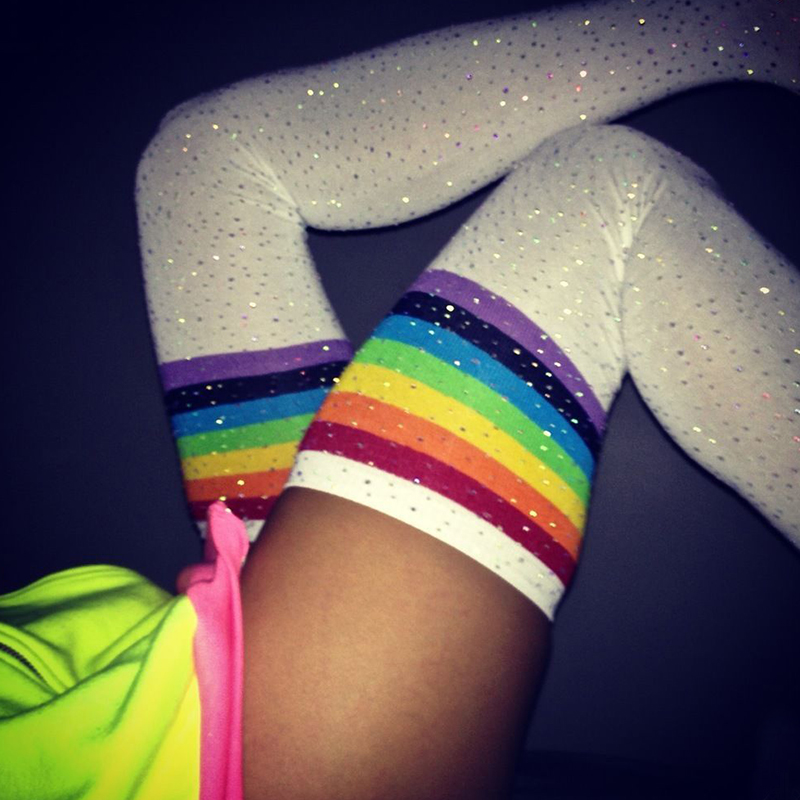 Lovely Casual Color Striped White Cotton Blends Long Socks