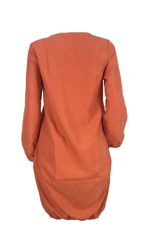 Precioso Vestido Largo Hasta La Rodilla Suelto Naranja De Euramerican.