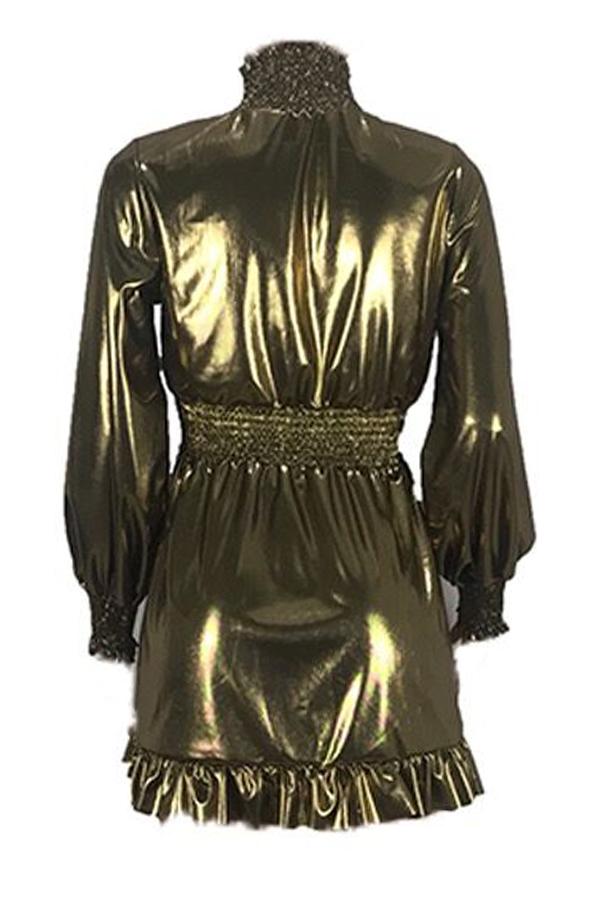 Lovely Euramerican  Lantern Sleeves Gold Mini Dress
