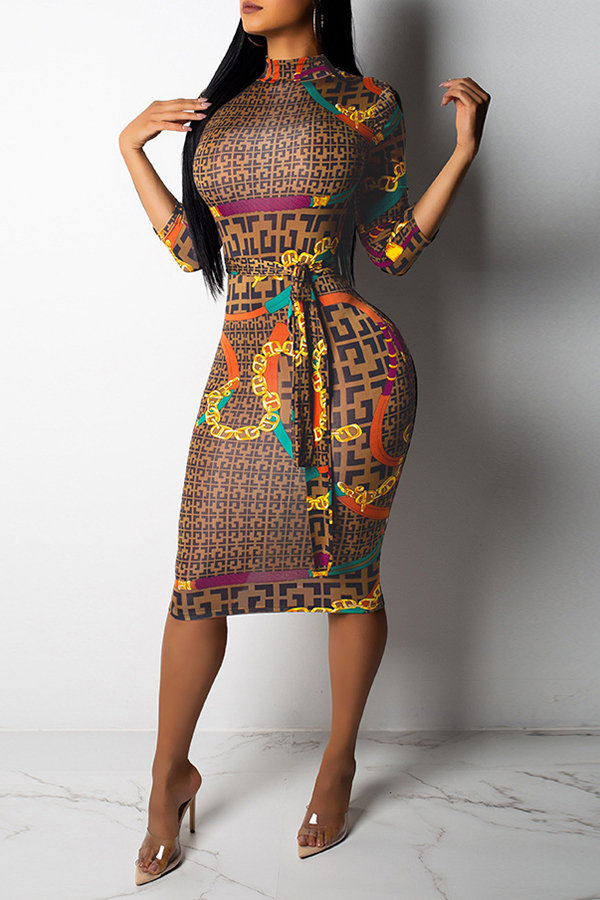 Lovely Casual Camouflage Printed Blending Knee Length Dress