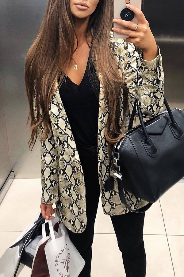 Lovely Casual Long Sleeves Printed Brown Coat