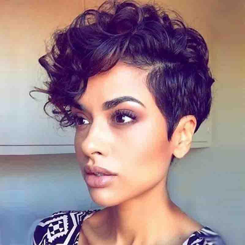 Pelucas Negras Rizadas Cortas Encantadoras De Moda