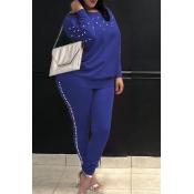 Lovely  Sweet Nail Bead Design Royal Blue Cotton Two-piece Pants Set