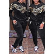 Lovely  Casual Patchwork Sequined Decorative Black Velvet Two-piece Pants Set