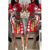 Lovely Casual Printed Red Knee Length Dress