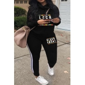 Lovely Casual Long Sleeves Letters Printed Black T
