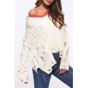 Lovely Fashion Hollowed-out White Knitting Sweater