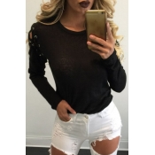 Lovely Casual Long Sleeves Lace-up Black T-shirt