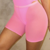 Lovely Trendy See-Through Skinny Pink Shorts(Witho