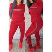 Lovely Casual Striped  Red Blending Two-piece Pants Set