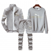Lovely Casual Long Sleeves Printed Light Grey Two-
