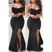 Lovely Elegant Evening Gown Black Knitting Floor Length Dress
