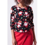 Lovely Euramerican Santa Claus Printed Black Twilled Satin  Blouses