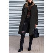 Lovely Euramerican Long Sleeves Black Imitation Wo