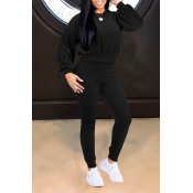 Lovely Casual Lace-up Black Velvet Two-piece Pants Set