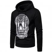 Lovely Euramerican Skull Printed Black Cotton Hood