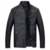 Lovely Casual Zipper Design Black Leather Coat